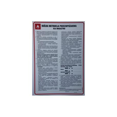 Ogólna instrukcyjna przeciwpożarowa dla magazynu.