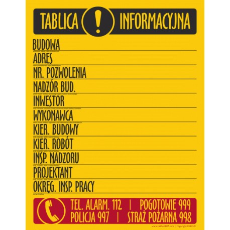 T001 Tablica Informacyjna Budowy
