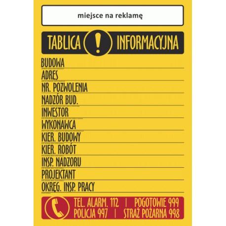 T001R Tablica Informacyjna Budowy + reklama