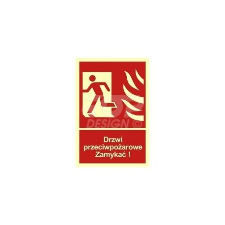 BB011 Drzwi ppoż. Zamykać! Kierunek drogi ewakuacyjnej w lewo