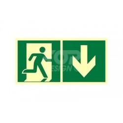 AE099 Kierunek do wyjścia ewakuacyjnego w dół (prawy)