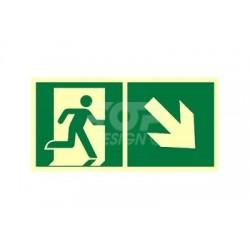 AE098 Kierunek do wyjścia ewakuacyjnego w dół w prawo
