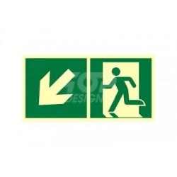 AE093 Kierunek do wyjścia ewakuacyjnego w dół w lewo